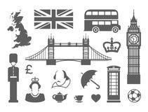 Símbolos de Inglaterra y de Londres ilustración del vector