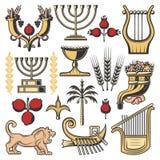 Símbolos de Israel da religião do judaism, cultura judaica ilustração stock