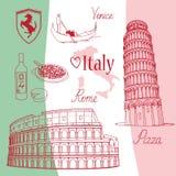 Símbolos de Italia Imágenes de archivo libres de regalías