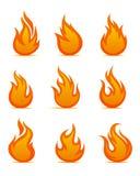 Símbolos de la alarma antiincendios Imagen de archivo libre de regalías