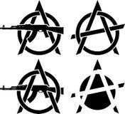 Símbolos de la anarquía Imágenes de archivo libres de regalías