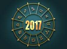 Símbolos de la astrología en círculo de oro Imagenes de archivo