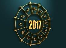 Símbolos de la astrología en círculo de oro Imagen de archivo