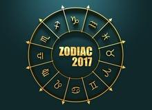 Símbolos de la astrología en círculo de oro Imágenes de archivo libres de regalías