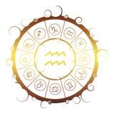 Símbolos de la astrología en círculo Muestra del portador del agua stock de ilustración