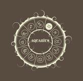 Símbolos de la astrología en círculo Muestra del portador del agua libre illustration