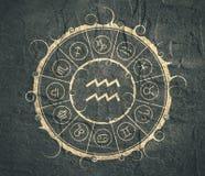 Símbolos de la astrología en círculo Muestra del portador del agua ilustración del vector