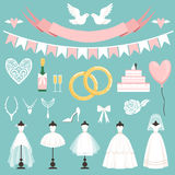 Símbolos de la boda en estilo de la historieta Torta, flores, anillos y otros elementos libre illustration