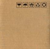 Símbolos de la caja de cartón Foto de archivo