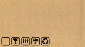 Símbolos de la caja de cartón Imágenes de archivo libres de regalías