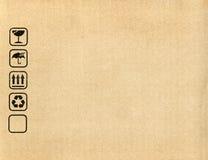 Símbolos de la caja de cartón Fotos de archivo libres de regalías