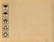 Símbolos de la caja de cartón Imagenes de archivo