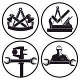 Símbolos de la carpintería y de la herramienta stock de ilustración