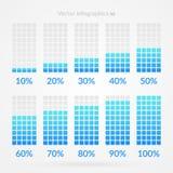 10 20 30 40 50 60 70 80 símbolos de la carta del 90 por ciento Iconos infographic del vector del porcentaje para el negocio, tran Foto de archivo libre de regalías