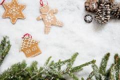 Símbolos de la casa de vacaciones del invierno en el fondo de la nieve del invierno, endecha plana Fotos de archivo