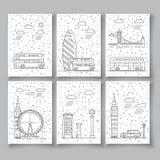Símbolos de la ciudad de Londres en horizonte Imagen de archivo libre de regalías