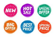 Símbolos de la colección tales como oferta especial, venta caliente, el mejor precio, nuevo Iconos Imagen de archivo libre de regalías