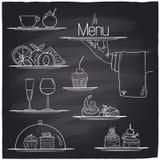 Símbolos de la comida del banquete de la tiza ilustración del vector
