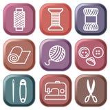 Símbolos de la costura y de la costura Fotografía de archivo