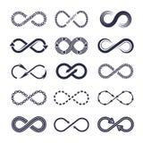 Símbolos de la eternidad Colección monocromática del icono del vector de logotipos del infinito ilustración del vector