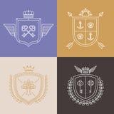 Símbolos de la heráldica del vector y elementos lineares del diseño libre illustration