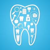 Símbolos de la higiene y del threatment del diente Foto de archivo libre de regalías