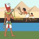Símbolos de la historieta egipcia antigua de la civilización stock de ilustración