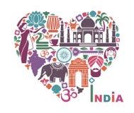Símbolos de la India bajo la forma de corazón stock de ilustración