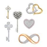 Símbolos de la joyería del amor, suerte, fortuna Imagen de archivo