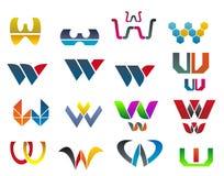 Símbolos de la letra W Imagen de archivo