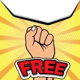 Símbolos de la libertad de la mano en arte pop del vintage Foto de archivo