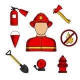 Símbolos de la lucha contra el bombero y el fuego Fotografía de archivo libre de regalías