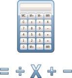 Símbolos de la matemáticas de la calculadora Imagen de archivo