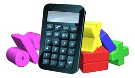 Símbolos de la matemáticas del hombre de la calculadora Imagen de archivo libre de regalías