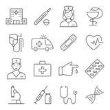 Símbolos de la medicina y de la salud Líneas finas sistema del vector del icono del web Fotografía de archivo libre de regalías