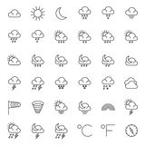 Símbolos de la meteorología y línea fina iconos del vector del tiempo fijados ilustración del vector