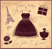 Símbolos de la moda del francés stock de ilustración