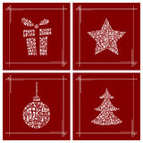 Símbolos de la Navidad hechos de los pequeños rectángulos de regalo Imágenes de archivo libres de regalías