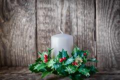 Símbolos de la Navidad incluyendo vela Fotografía de archivo libre de regalías