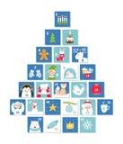Símbolos de la Navidad y de la celebración del Año Nuevo Advent Calendar o tarjetas Forma del árbol de navidad Sistema del vector imagenes de archivo