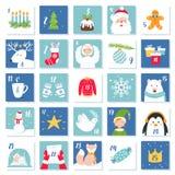 Símbolos de la Navidad y de la celebración del Año Nuevo Advent Calendar o tarjetas Sistema del vector Imágenes de archivo libres de regalías