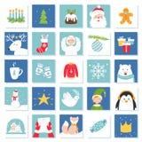 Símbolos de la Navidad y de la celebración del Año Nuevo Tarjetas de juego de Advent Calendar o del bingo Sistema del vector Foto de archivo libre de regalías