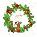 Símbolos de la Navidad y del perro del año, guirnalda del círculo, dos, cero, uno, ocho stock de ilustración