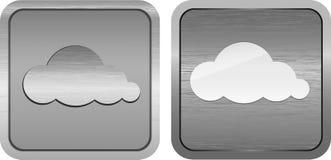 Símbolos de la nube en botones metálicos aplicados con brocha Fotos de archivo libres de regalías
