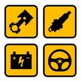 Símbolos de la pieza del coche Fotografía de archivo