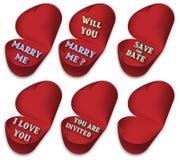 Símbolos de la propuesta de matrimonio o del amor Foto de archivo