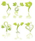 Símbolos de la salud y de la ecología Imagen de archivo libre de regalías