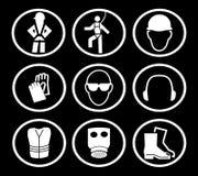 Símbolos de la seguridad de construcción Fotos de archivo libres de regalías