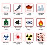 Símbolos de la seguridad del laboratorio Fotos de archivo