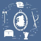 Símbolos de la serie de televisión de la fantasía ilustración del vector